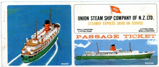 Union Steam Ship Company Passenger Ticket.