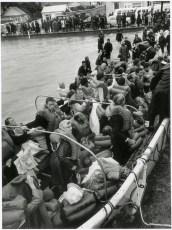 """Wahine"" lifeboat arriving at Seatoun Wharf"