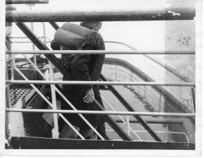Passenger desending TEV Wahine staircase