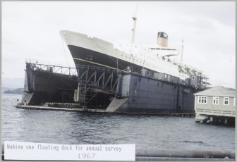 TEV Wahine in floating dock for annual survey 1967