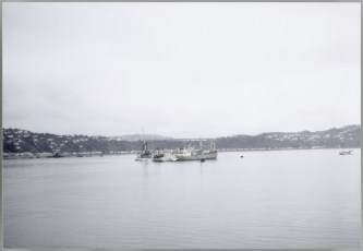 The TEV Wahine wreck with the salvage vessel Holmpark alongside