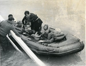 Mrs Mary Lee and other passengers at Seatoun Wharf