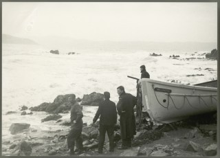 Lifeboat washed up on eastern side Wellington Harbour after wreck of TEV Wahine.