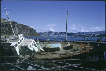 Wreck of vessel at Evans Bay after Cyclone Gesille