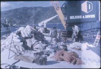 The stripping of passenger cabins from the TEV Wahine wreck.