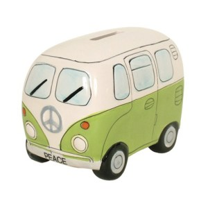 Green Kombi Van Money Box