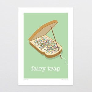 Fairy Trap Print, Fairy Bread, Kiwi, NZ Made, Print, Art, Glenn Jones