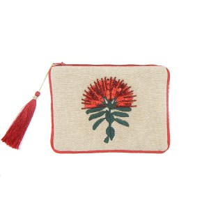 Purse, Caroline Mitchell, Flowers, Beaded Pōhutukawa Purse