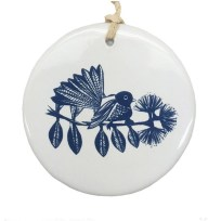 Blue Fantail on White Ceramic Hanging Tile