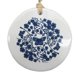 Blue Manuka on White Ceramic Hanging Tile