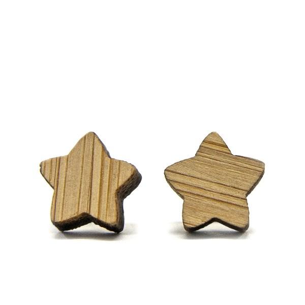 Wooden Star Earrings