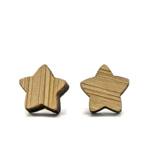 Wooden Star Earrings