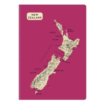 New Zealand Map Notebook - Pink