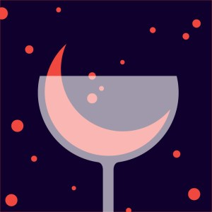 Red crescent moon in a wine glass