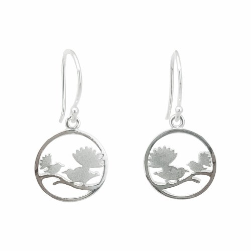 Sterling Silver Fantail Circle Earrings