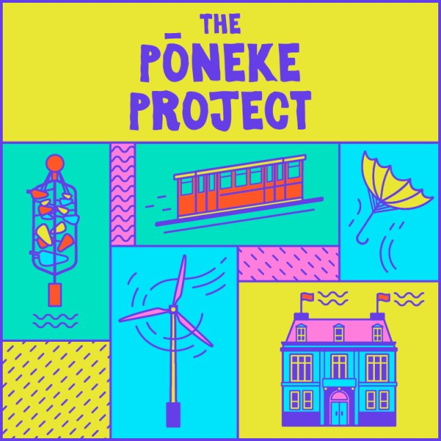 A title card for The Pōneke Project. Bright illustrations of Wellington icons: The Bucket Fountain, Cable Car, windmills, broken umbrella and Wellington Museum