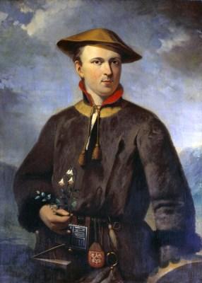 Linnaeus in Sami costume Portrait by_Hendrik Hollander (1853) [Public domain], via Wikimedia Commons