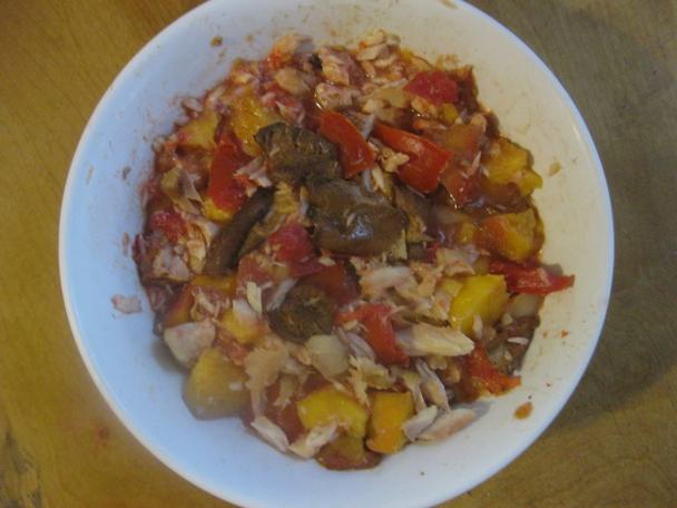 mushroom-peach-whitefish salad