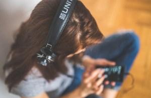 wearing headphones