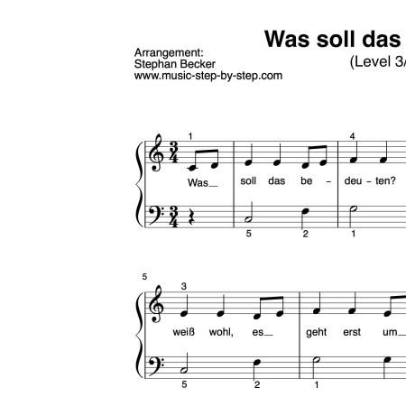 """""""Was soll das bedeuten"""" für Klavier (Level 3/10)   inkl. Aufnahme und Text music-step-by-step"""