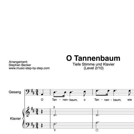 """""""O Tannenbaum"""" für Gesang, tiefe Stimme (Klavierbegleitung Level 2/10)   inkl. Aufnahme, Text und Begleitaufnahme by music-step-by-step"""