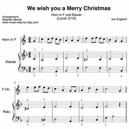 We wish you a Merry Christmas für Horn in F und Klavier