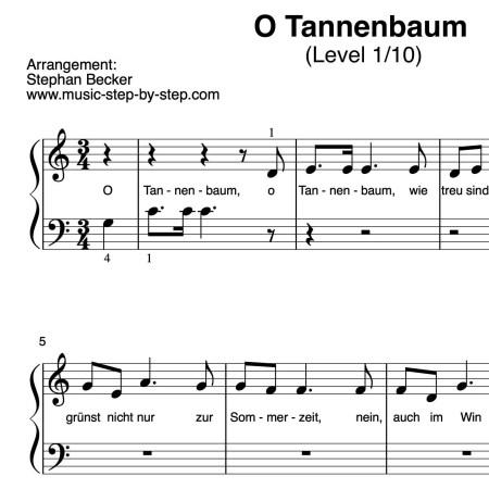 """Noten """"O Tannenbaum"""" für Klavier (Level 1/10)"""