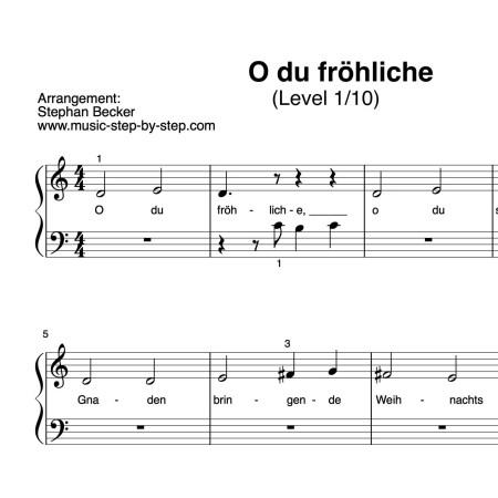 """Noten """"O du fröhliche"""" für Klavier (Level 1/10)"""