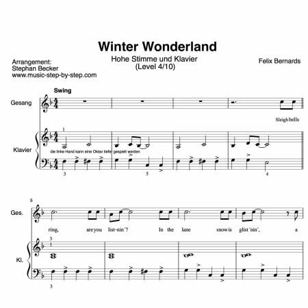 """Noten """"Winter Wonderland"""" für hohe Stimme (Klavierbegleitung Level 4/10)"""