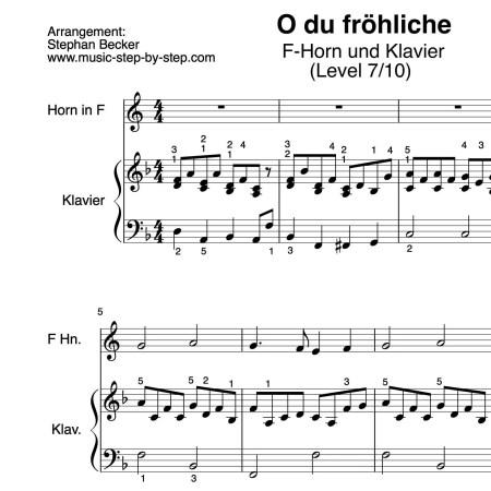"""""""O du fröhliche"""" für Horn in F (Klavierbegleitung Level 7/10)   inkl. Aufnahme, Text und Playalong...music-step-by-step"""