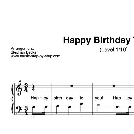 """Happy Birthday To You"" für Klavier (Level 1/10) | inkl. Aufnahme und Text by music-step-by-step"