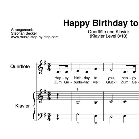 """Happy Birthday to You"" für Querflöte (Klavierbegleitung Level 3/10) 