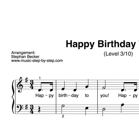 """Happy birthday to you"" für Klavier (Level 3/10) 