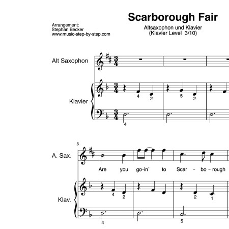 """Scarborough Fair"" für Altsaxophon (Klavierbegleitung Level 3/10) 