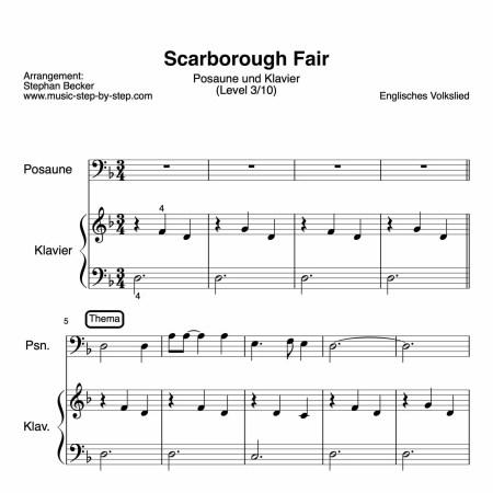 """""""Scarborough Fair"""" für Posaune (Klavierbegleitung Level 3/10)   inkl. Aufnaheme, Text und Playalong"""