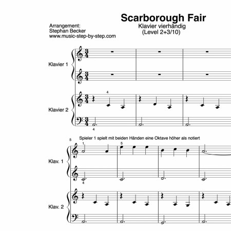 """Scarborough Fair"" für Klavier vierhändig (Level 2+3/10) 