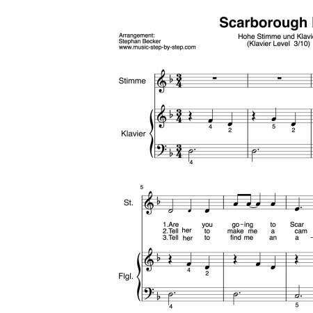 """Scarborough Fair"" für hohe Stimme (Klavierbegleitung Level 3/10) | inkl. Aufnahme, Text und Playalong by music-step-by-step"