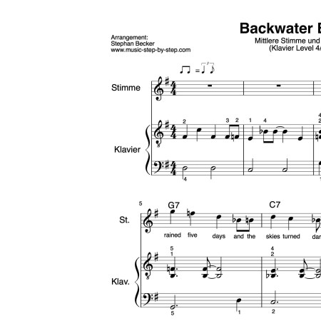 """Backwater Blues"" für mittlere Stimme (Klavierbegleitung Level 4/10) | inkl. Aufnahme, Text und Playalong by music-step-by-step"