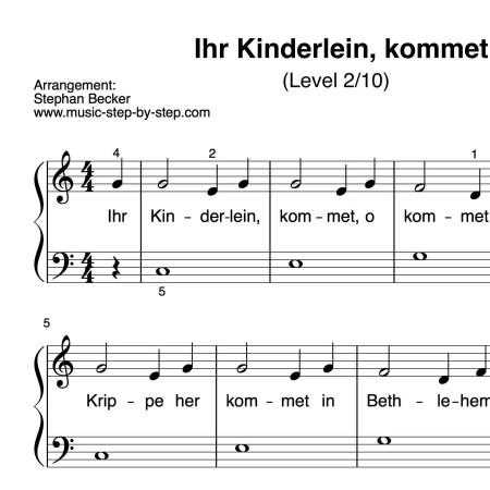 """""""Ihr Kinderlein, kommet"""" für Klavier (Level 2/10)   inkl. Aufnahme und Text"""