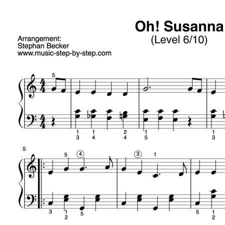 """""""Oh! Susanna"""" für Klavier (Level 6/10)   inkl. Aufnehme und Text"""