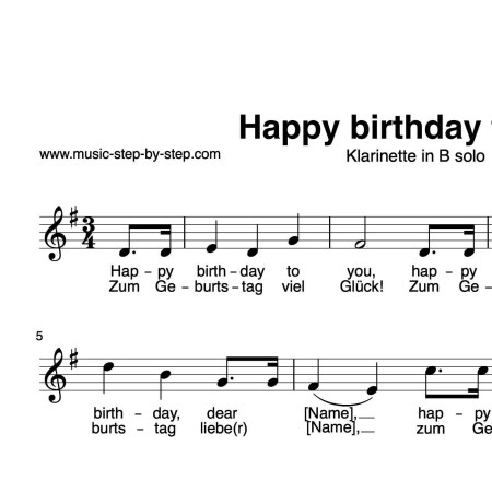 """Happy birthday to you"" für Klarinette in B solo 