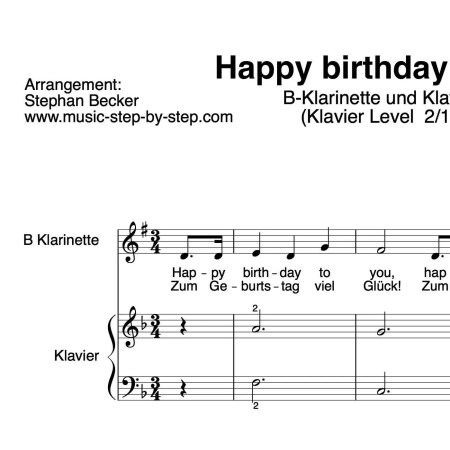 """Happy birthday to you"" für Klarinette in B (Klavierbegleitung Level 2/10) 