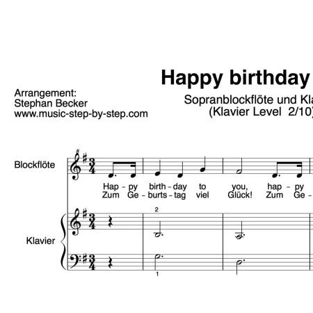 """Happy birthday to you"" für Sopranblockflöte (Klavierbegleitung Level 2/10) | inkl. Aufnahme, Text und Playalong music-step-by-step"