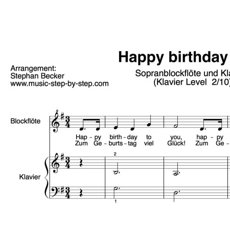"""Happy birthday to you"" für Sopranblockflöte (Klavierbegleitung Level 2/10) 