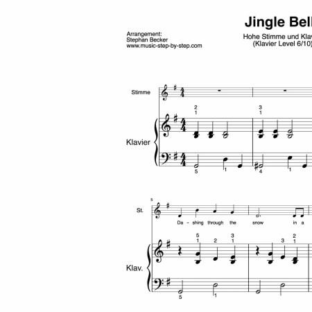 """Jingle Bells"" für hohe Stimme (Klavierbegleitung Level 6/10) | inkl. Aufnahme, Text und Playalong by music-step-by-step"