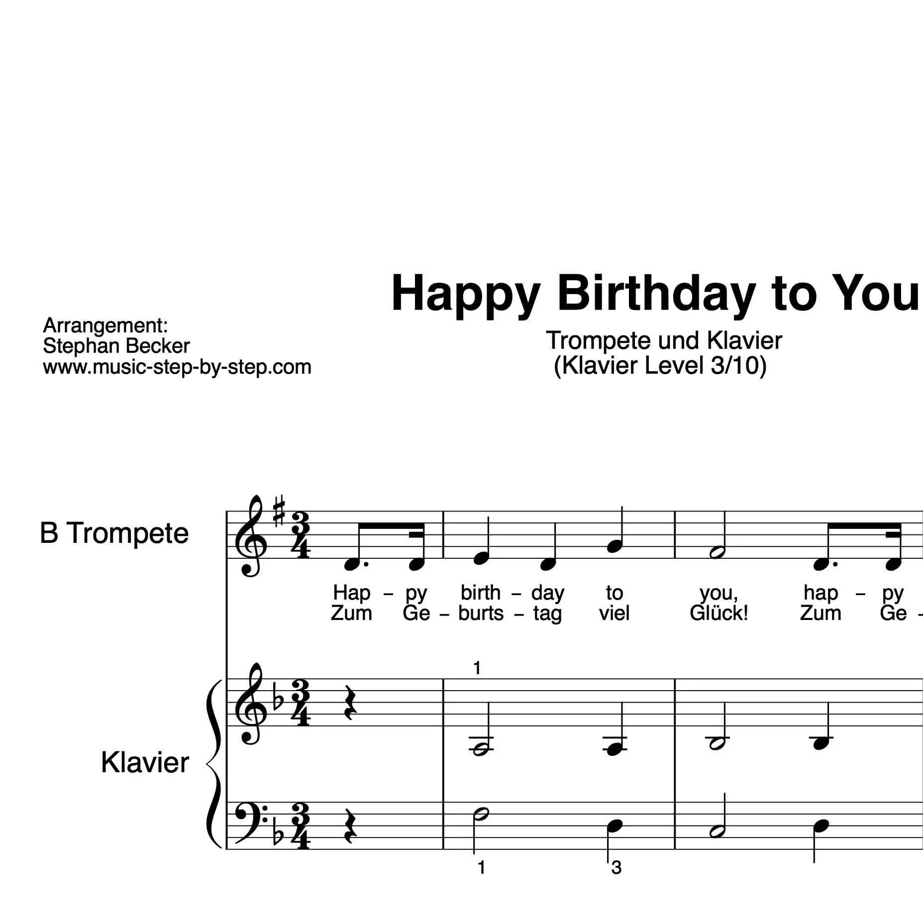 """""""Happy Birthday To You"""" Für Trompete (Klavierbegleitung"""