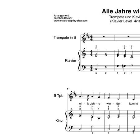 """""""Alle Jahre wieder"""" für Trompete (Klavierbegleitung Level 4/10)   inkl. Aufnahme, Text und Playalong by music-step-by-step"""