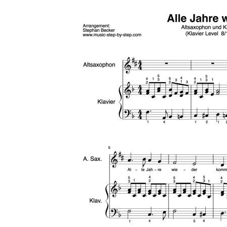 """""""Alle Jahre wieder"""" für Altsaxophon (Klavierbegleitung Level 8/10)   inkl. Aufnahme, Text und Playalong by music-step-by-step"""