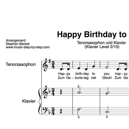 """Happy Birthday to you"" für Tenorsaxophon (Klavierbegleitung Level 2/10) 