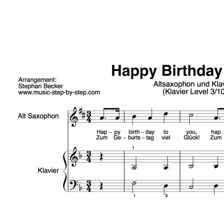 """Happy Birthday"" für Altsaxophon (Klavierbegleitung Level 3/10) 